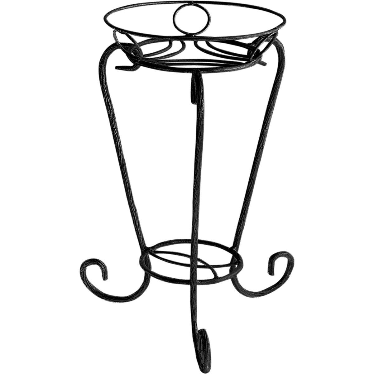 Подставка для цветов Фабрика ковки Лоза, на 1 цветок, цвет: черный14-011-BПодставка предназначена для размещения одного цветка. Изготовлена из рифленого прутка, окрашена в черный цвет. Небольшие размеры и изящная форма придают этой подставке особую элегантность и изысканность. Три изогнутых прутка в качестве ножек обеспечивают высокую устойчивость и надежность установки цветка. Корзинка декорирована колечками. Подставка идеально подойдет для оформления открытых площадок и террас в загородном доме или коттедже.