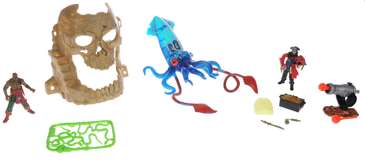 Chap Mei Игровой набор Пираты Битва с гигантским кальмаром505204Игровой набор Chap Mei Пираты. Битва с гигантским кальмаром поможет реализовать множество захватывающих сюжетов и подарит прекрасное настроение. Огромный кровожадный кальмар выбрался из морских глубин, чтобы коварно напасть на отдыхающих пиратов. Герои защищают вход в пещеру-череп, где спрятан сундук с сокровищами. Пираты защищают своё богатство с помощью пушки, которая стреляет специальными снарядами. Если нажать на небольшую кнопку на кальмаре, то его тело начинает мерцать синим светом. В комплекте имеется пиратская бочка, которая светится в темноте и дополнительные аксессуары. Игра позволит ребенку развивать воображение, внимание и ловкость рук. Малыш значительно расширит кругозор и увеличит свой словарный запас. Для работы требуются 3 батарейки типа LR44 (комплектуется демонстрационными).