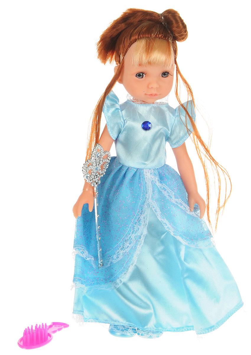 ABtoys Кукла Модница цвет платья голубойPT-00370_голубойКукла ABtoys Модница может стать замечательным подарком для маленькой девочки. Одета кукла в красивое длинное платье, на ногах у нее - голубые туфельки. У куклы длинные шелковистые волосы, поэтому ребенок сможет придумать для нее много вариантов разнообразных причесок. Наличие в наборе аксессуаров поможет значительно расширить игровые возможности девочки с этой красавицей. Руки, ноги и голова куклы подвижны, благодаря чему ей можно придавать различные позы. Благодаря играм с куклой ваша малышка сможет развить фантазию и любознательность, овладеть навыками общения и научиться ответственности.