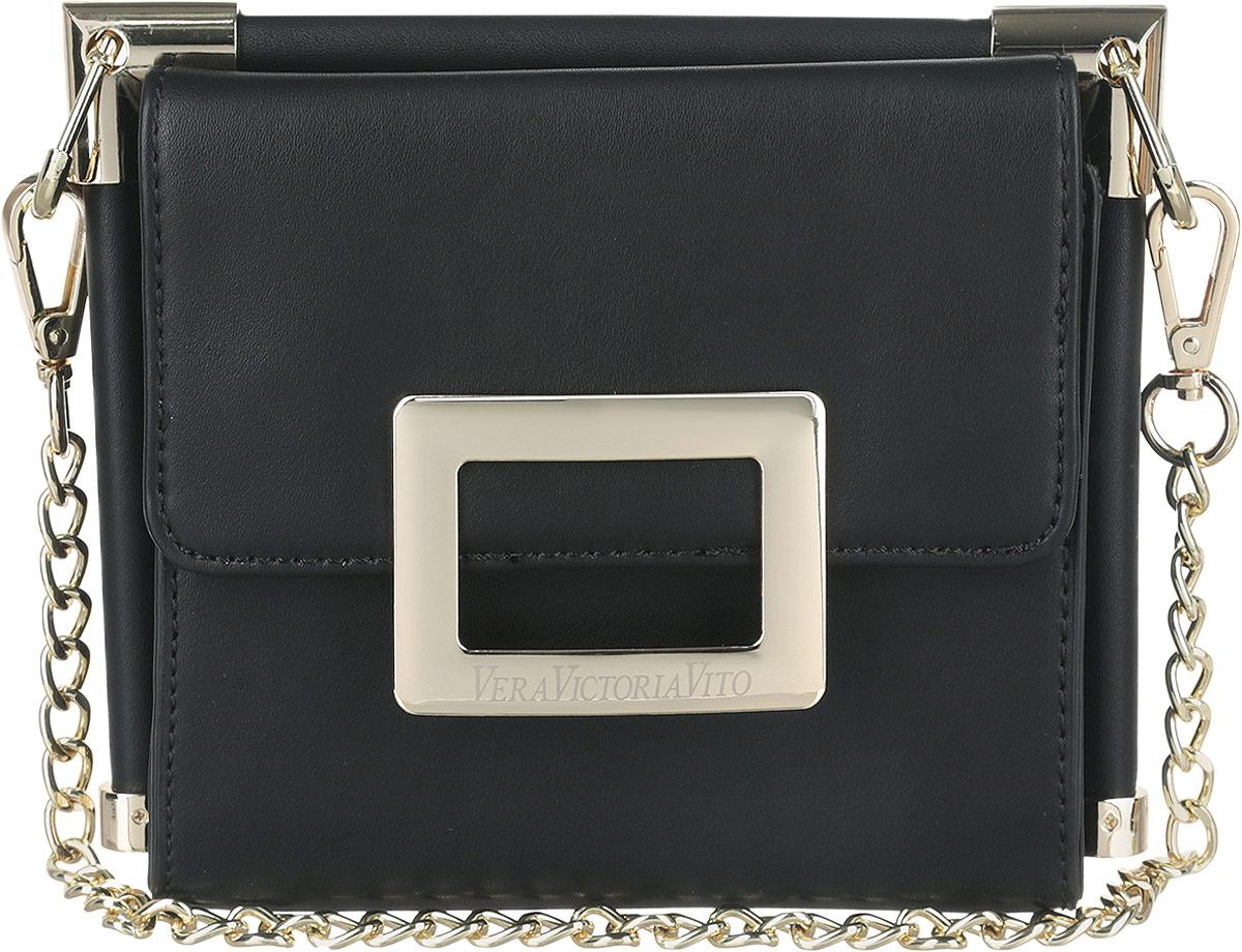 Сумка женская Vera Victoria Vito, цвет: черный. 32-604-132-604-1Элегантная женская сумка Vera Victoria Vito изготовлена из экокожи. Изделие имеет одно отделение, разделенное пополам перегородкой. Закрывается сумка на два клапана с магнитами. Сумка оснащена съемной длинной ручкой в виде цепочки. В комплект входит съемный регулируемый плечевой ремень. Роскошная сумка внесет элегантные нотки в ваш образ и подчеркнет ваше отменное чувство стиля.