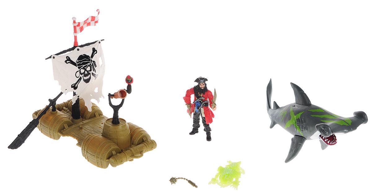 Chap Mei Игровой набор Пираты Капитан на плоту505203-1Игровой набор Chap Mei Пираты. Капитан на плоту поможет реализовать множество захватывающих сюжетов и подарит прекрасное настроение. Пират оказался один в открытом море на самодельном плоту, собранном из старых бочек. Над плотом развивается пиратский флаг, а капитан всматривается в морскую гладь через подзорную трубу. Плот управляется подвижным веслом. Навстречу капитану двигается огромная акула с открывающейся челюстью. В комплекте имеется скелет пирата, который светится в темноте и дополнительные аксессуары. Игра позволит ребенку развивать воображение, внимание и ловкость рук. Малыш значительно расширит кругозор и увеличит свой словарный запас.