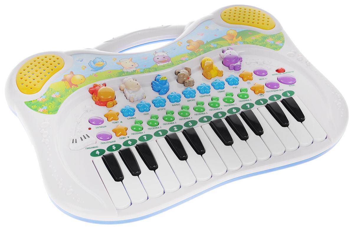 Genio Kids Синтезатор Поющие друзьяPK39FYЯркая музыкальная игрушка Поющие друзья привлечет внимание малыша и доставит ему много удовольствия от часов, посвященных игре с ним. Игрушка Поющие друзья превращает знакомство с музыкой в увлекательную игру. Она представляет собой мини-синтезатор с 24 черно-белыми клавишами, веселыми мелодиями и забавными звуками. Ребенок познакомится с такими музыкальными стилями, как диско, вальс, рэп, самба, а также с различными ритмами. В верхней части игровой панели расположены фигурные кнопки, нажав на которые, можно услышать звук определенного животного. Ребенок может поиграть на пианино, может добавить голоса животных, ускорить темп и увеличить громкость. Есть возможность записать свою музыку и послушать, что получилось. На синтезаторе регулируется громкость и темп проигрывания мелодий. Вверху игрушка дополнена удобной ручкой для комфортной переноски с места на место. С помощью этого синтезатора ребенок сможет развить свои музыкальные способности и...