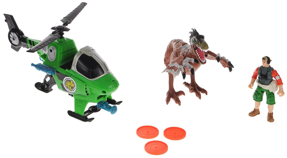Chap Mei Игровой набор Динозавр Ютараптор и охотник на вертолете520002-2Игровой набор Chap Mei Динозавр Ютараптор и охотник на вертолете непременно придется по душе вашему малышу. Голова фигурки охотника поворачивается, руки и ноги двигаются. У фигурки динозавра подвижные конечности и хвост, пасть открывается. Фигурка охотника легко помещается в зеленый вертолет. Лопасти вертолета вращаются. Вертолет оборудован встроенным орудием с пусковым устройством, стреляющим дисками. В наборе имеются три диска для орудия. Игровой набор способствует развитию у ребенка цветового восприятия, мелкой моторики, хватательного рефлекса, осязания и координации движений. Игрушка разовьет интерес ребенка к изучению живого мира нашей планеты. Отлично подходит для сюжетно-ролевых игр, которые способствуют развитию памяти и воображения у малыша. В комплекте многочисленное снаряжение охотника.