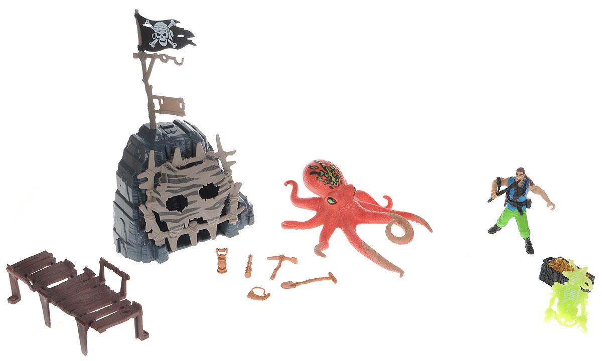 Chap Mei Игровой набор Пираты Сражение с осьминогом505203-2Игровой набор Chap Mei Пираты. Сражение с осьминогом поможет реализовать множество захватывающих сюжетов и подарит прекрасное настроение. Огромный осьминог выбрался из морских глубин, чтобы коварно напасть на одинокого пирата. Герой защищает вход в пещеру, где спрятан сундук с сокровищами. Дверь в пещеру открывается. В комплекте имеется скелет пирата, который светится в темноте и дополнительные аксессуары. Игра позволит ребенку развивать воображение, внимание и ловкость рук. Малыш значительно расширит кругозор и увеличит свой словарный запас.