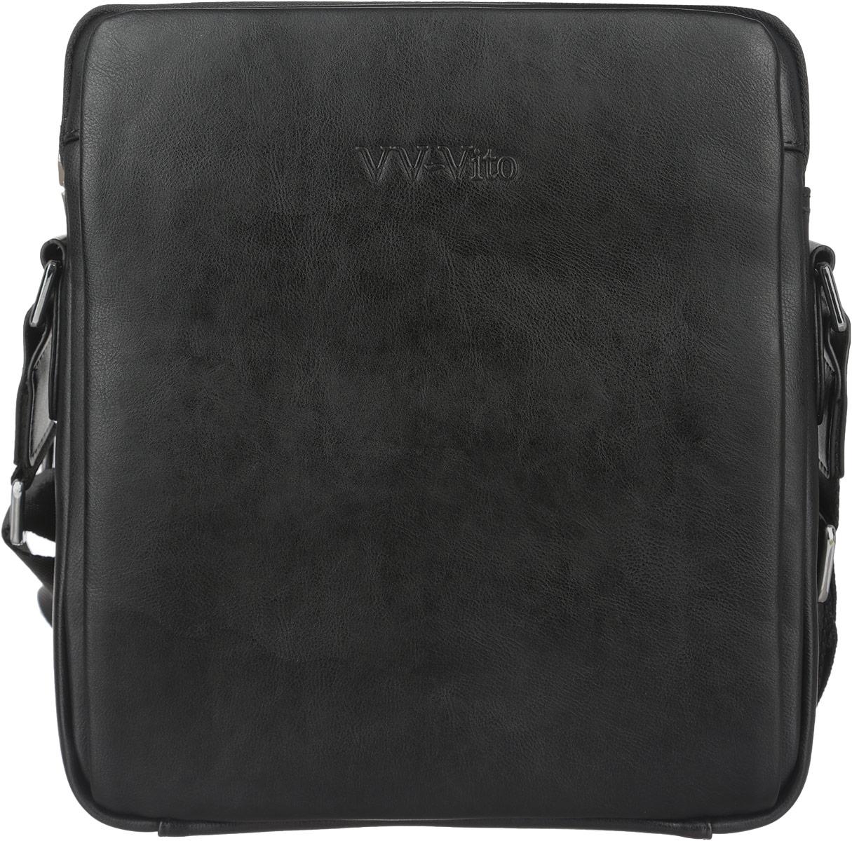 Сумка мужская Vera Victoria Vito, цвет: черный. 35-612-135-612-1Стильная мужская сумка Vera Victoria Vito выполнена из экокожи и текстиля. Изделие имеет одно отделение, которое закрывается на застежку-молнию. Внутри сумки находятся прорезной карман на застежке-молнии и два открытых накладных кармана. Снаружи, на передней стенке расположен накладной карман на магнитных кнопках, на задней стенке - прорезной карман на застежке-молнии. Сумка оснащена текстильным плечевым ремнем, регулируемым по длине. Стильная сумка идеально подчеркнет ваш неповторимый стиль.