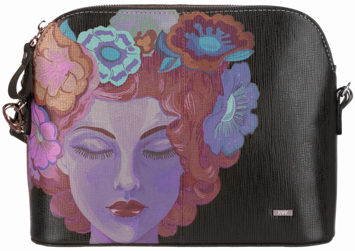 Сумка женская Esse Ребекка, цвет: черный, сиреневый, красный. GREB2U-00ML09-FC501O-K100GREB2U-00ML09-FC501O-K100Стильная женская сумка Esse Ребекка изготовлена из натуральной кожи и оформлена изображением лица девушки. Изделие имеет одно основное отделение. Внутри сумки расположены накладной открытый карман и прорезной карман на застежке-молнии. Закрывается изделие на застежку-молнию. Снаружи, на задней стенке находится прорезной карман на застежке-молнии. Сумка оснащена съемным регулируемым плечевым ремнем. Роскошная сумка внесет элегантные нотки в ваш образ и подчеркнет ваше отменное чувство стиля.