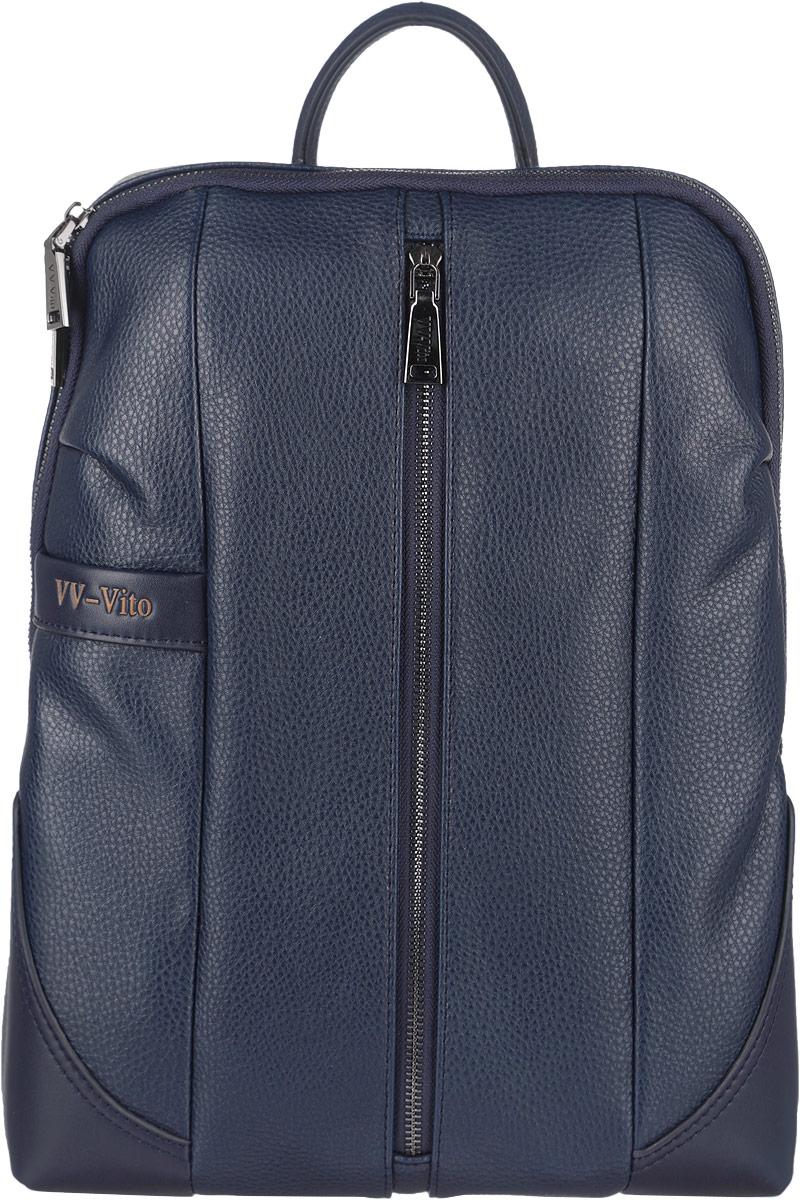 Рюкзак мужской Vera Victoria Vito, цвет: темно-синий. 35-615-535-615-5Стильный мужской рюкзак Vera Victoria Vito выполнен из экокожи и текстиля. Изделие имеет одно основное отделение, которое закрывается на застежку-молнию. Внутри изделия расположены прорезной карман на застежке-молнии, накладной открытый карман и мягкий карман для планшета, закрывающийся на хлястик с липучкой. Снаружи, на передней стенке находятся нашивной карман на застежке-молнии и накладной открытый карман. Рюкзак оснащен широкими лямками регулируемой длины и ручкой для переноски в руке. Спинка и внутренняя сторона лямок дополнена мягкими сетчатыми вставками, которые обеспечивают воздухопроницаемость и комфорт при носке. Практичный и стильный аксессуар позволит вам завершить свой образ.