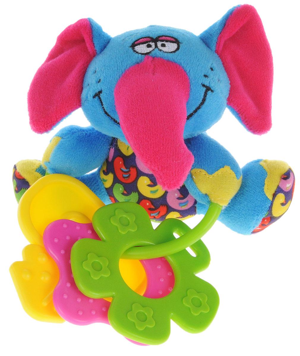 Bondibon Мягкая игрушка-погремушка Слон с прорезывателямиВВ1296_слонМягкая игрушка-погремушка Слон не оставит вашего малыша равнодушным и не позволит ему скучать. Игрушка выполнена из высококачественных текстильных материалов и мягкого наполнителя. Внутри ушек спрятаны шуршащие элементы. Игрушка дополнена пластиковым кольцом, на котором размещены три ярких прорезывателя. Рельефные прорезыватели выполнены из пластика разной жесткости и разных цветов. Яркая игрушка формирует тактильные ощущения, восприятие звуков, цветов и форм. В процессе игры развивается мелкая моторика и воображение вашего ребенка.