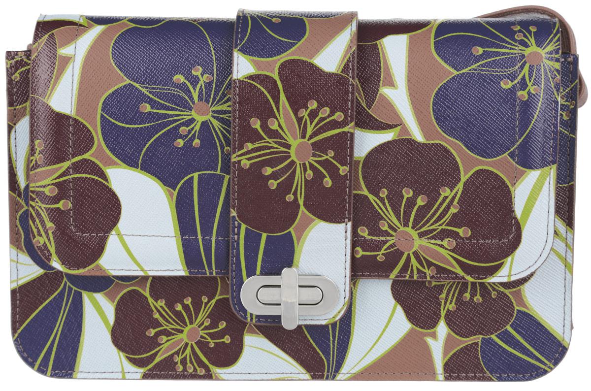 Сумка женская Esse Матри, цвет: коричневый, фиолетовый, светло-серый. GMTR5U-00ZF09-FH013O-K100GMTR5U-00ZF09-FH013O-K100Стильная женская сумка Esse Матри изготовлена из натуральной кожи и оформлена цветочным принтом. Изделие имеет одно основное отделение, внутри которого расположены накладной открытый карман и прорезной карман на застежке-молнии. Закрывается изделие на клапан с поворотным замком. Сумка оснащена регулируемым плечевым ремнем. Модная сумка внесет элегантные нотки в ваш образ и подчеркнет ваше отменное чувство стиля.