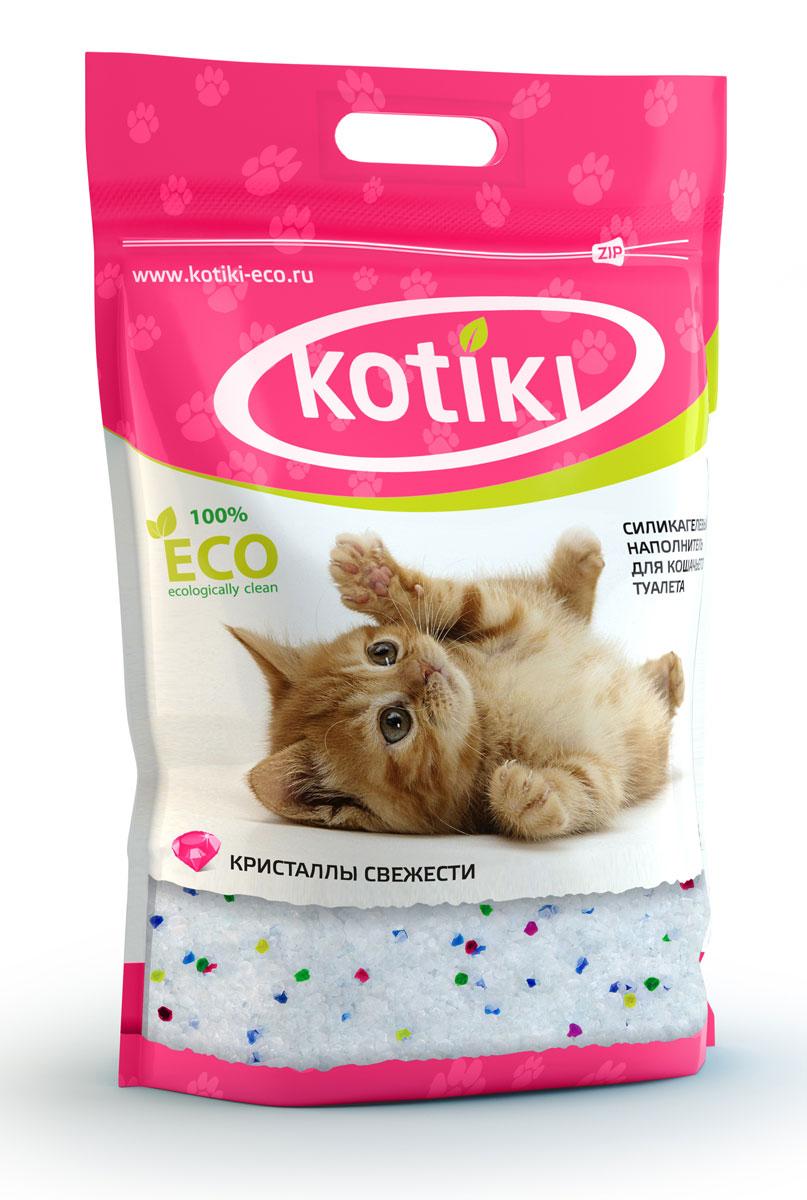 Наполнитель для кошачьего туалета Kotiki Кристаллы свежести, 5 л00000000106Силикагелевый наполнитель Kotiki Кристаллы свежести, благодаря своему специально-разработанному составу, моментально впитывает в себя всю влагу и неприятные запахи. Все это надежно блокируется внутри кристаллов и предотвращает размножение бактерий.