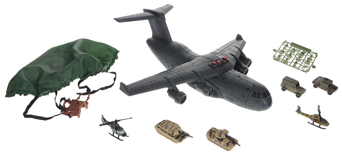 Chap Mei Игровой набор Нано-Армия Транспортный самолет524050Замечательный игровой набор Chap Mei Нано-Армия. Транспортный самолет из серии Micro Soldiers состоит из транспортного самолета с необычными грузами, который может превратиться в походный боевой комплекс. Набор включает в себя все, что нужно для настоящего любителя и ценителя игровых военных действий. Самолет оснащен световыми и звуковыми эффектами, они придадут играм больше реалистичности и, несомненно, привлекут внимание мальчишек. Все части комплекта изготовлены из качественного пластика. Корпус самолета открывается, носовая часть поднимается, позволяя загружать внутрь корпуса объемные грузы. Задний люк открывается. Используя фигурки солдатиков, вертолетики и машинки, ребенок может устроить интересные ролевые игры, а друзья с удовольствием к нему присоединятся. В наборе: самолет, комплект солдатиков, 2 вертолета, 2 танка, две бронемашины, парашют, лист с наклейками. Для работы игрушки необходимы 3 батарейки типа AG13 напряжением 1,5V (товар...