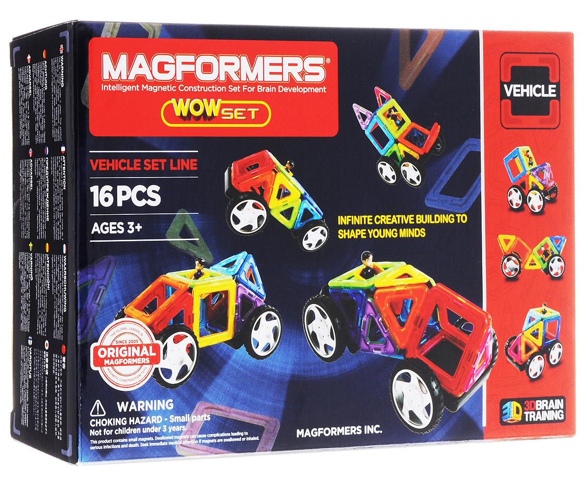 Magformers Магнитный конструктор Wow Set707004Магнитный конструктор Magformers Wow Set не содержит мелких деталей, что делает его абсолютно безопасным. Конструктор подходит детям с трех лет. Этот набор яркий, красочный, фееричный. В состав конструктора входит 16 элементов. Помимо базовых деталей - квадратов и треугольников, тут присутствуют 2 колесные базы. Наличие квадратика со встроенной фигуркой мальчика делает игру живее и интереснее - прокатить кого-то на только что изобретенном автомобиле всегда здорово! Прочные и сильные магнитики в элементах делают конструкции очень крепкими. Также в наборе 20 тематических двухсторонних карт. Половина карт представляет 20 оригинальных автомоделей, каждую из которых можно собрать из элементов данного набора. Другая половина карт наглядно демонстрируют принцип конструирования из Magformers. Все детали этого набора совместимы с другими наборами Magformers, что позволяет делать очень интересные комбинации.