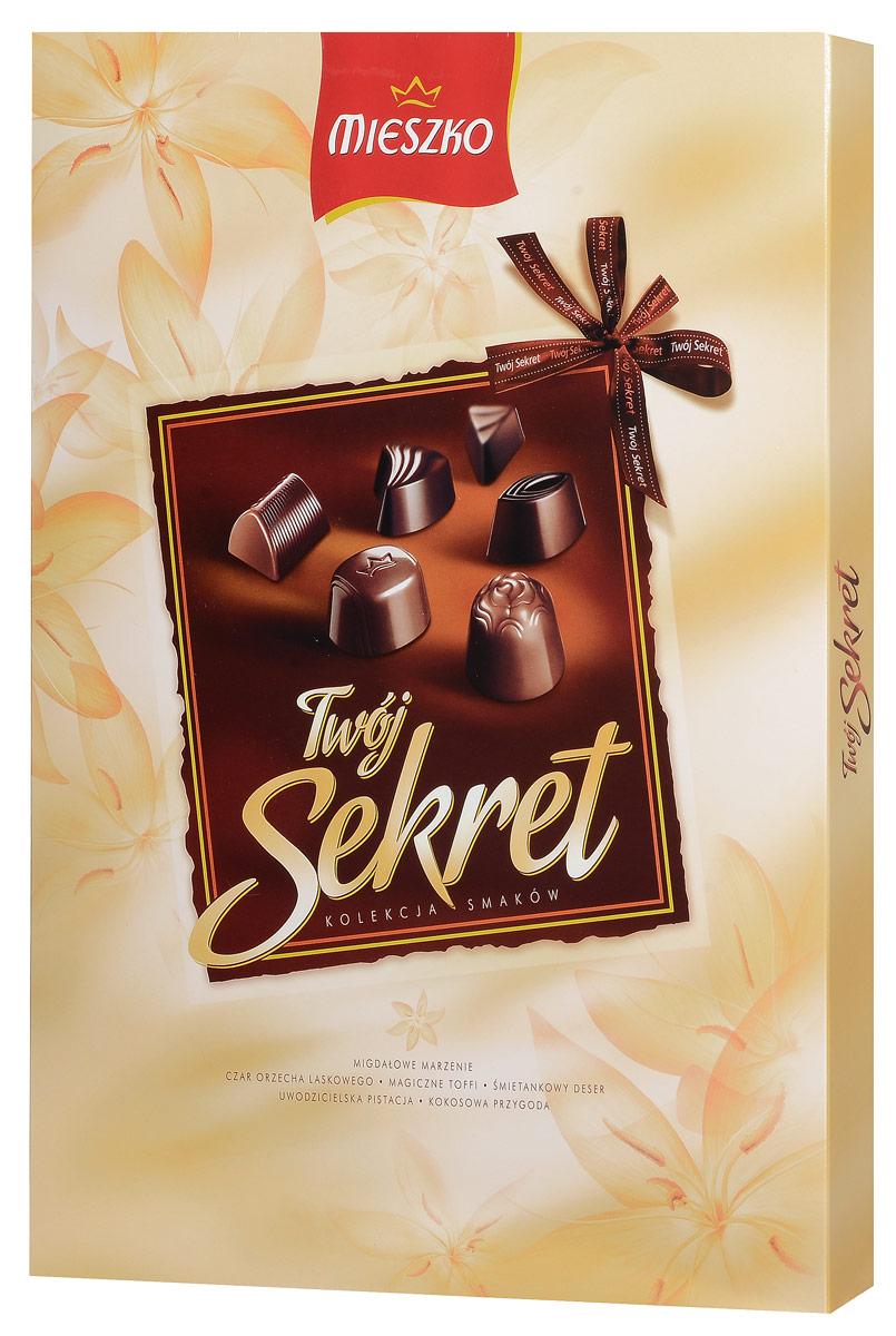Mieszko Твой Секрет набор шоколадных конфет, 324 г9283Шоколадные конфеты с начинкой Mieszko Твой Секрет - ассорти в десертном и молочном шоколаде, которое состоит из 6 вкусов и займет достойное место как на праздничном столе так и как повседневное лакомство к чаю.