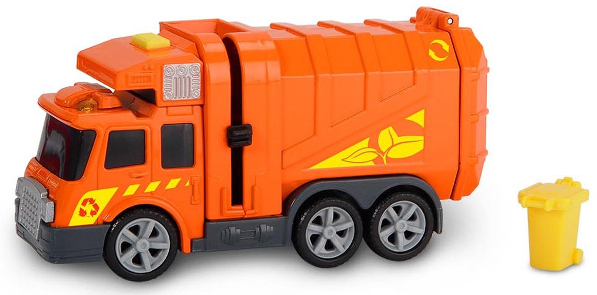 Dickie Toys Мусоровоз цвет оранжевый3302000Мусоровоз Dickie Toys привлечет внимание вашего ребенка и не позволит ему скучать. Яркий мусоровоз имеет открывающийся кузов, а также подъемный механизм для опрокидывания мусорного бака (в комплекте). Для большей реалистичности машина оснащена световыми и звуковыми эффектами. Ваш ребенок сможет часами играть с машинкой, придумывая разные истории. Порадуйте его таким замечательным подарком! Для работы игрушки необходимы 3 батарейки типа LR41 напряжением 1,5V (товар комплектуется демонстрационными).