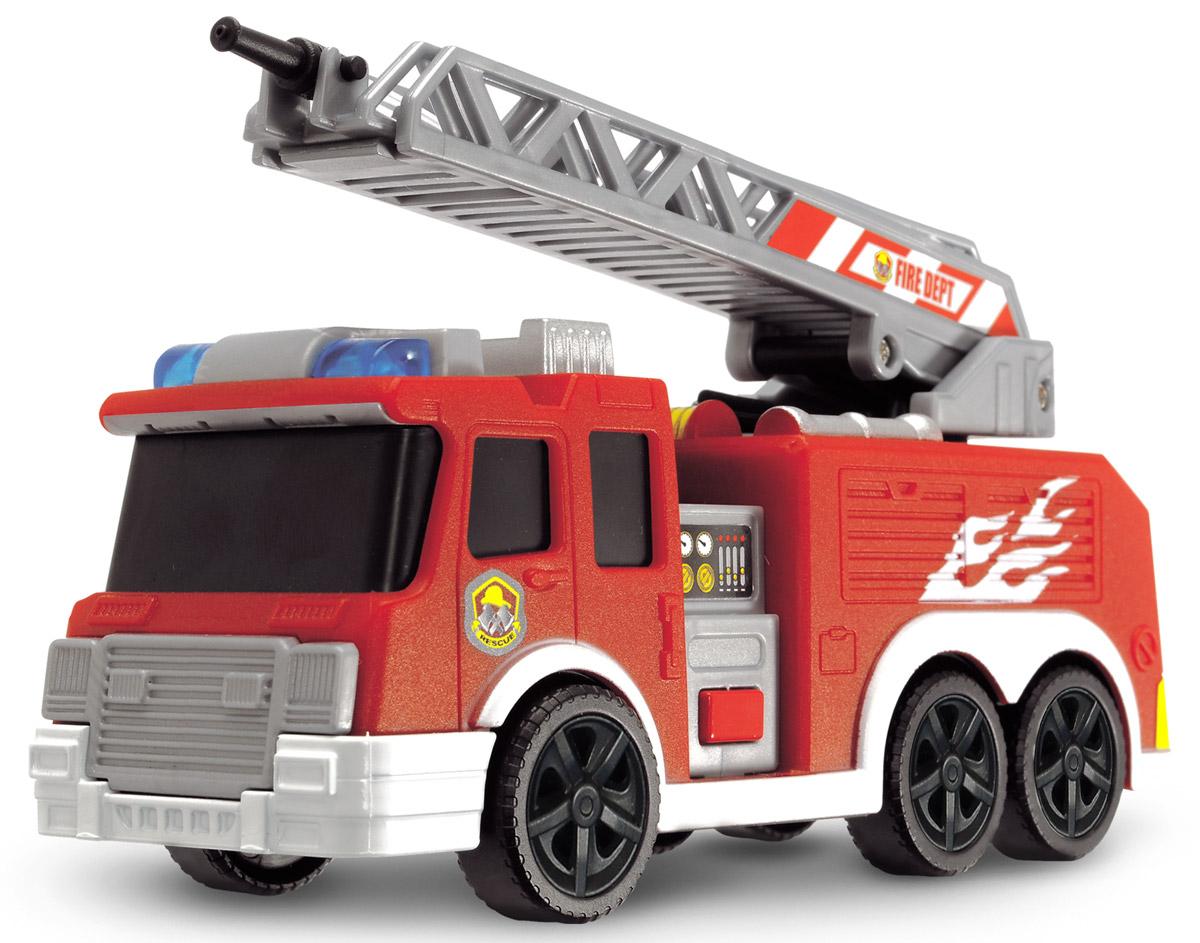 Dickie Toys Пожарная машина с водометом3302002Пожарная машина Dickie Toys привлечет внимание вашего ребенка и не позволит ему скучать. Пожарная машина оснащена выдвижной поворотной лестницей и настоящим водометом. Просто налейте воды в специальную емкость в кузове машины и нажимайте на кнопку насоса - вода будет распыляться наружу через брандспойт. Машина также имеет световые и звуковые эффекты, активируемые с помощью кнопки. Ваш ребенок сможет часами играть с машинкой, придумывая разные истории. Порадуйте его таким замечательным подарком! Для работы игрушки необходимы 3 батарейки типа LR41 напряжением 1,5V (товар комплектуется демонстрационными).