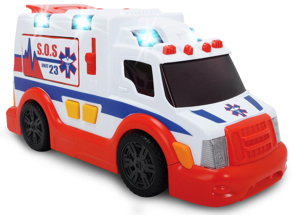 Dickie Toys Скорая помощь3308360Машина скорой помощи Dickie Toys привлечет внимание вашего ребенка и не позволит ему скучать. Игрушка выполнена из прочного пластика в виде хорошо детализированной скорой. Задние дверцы открываются, пандус опускается. Все это делается одновременно путем нажатия большой кнопки на крыше машины. На правом борту скорой помощи снаружи имеется рычажок, открывающий дверцу с медикаментами и инструментами. В комплект также входят носилки, которые можно загружать внутрь машины. Для придания большей реалистичности машина оснащена световыми и звуковыми эффектами, которые включаются с помощью кнопок. Ваш ребенок сможет часами играть с машинкой, придумывая разные истории. Порадуйте его таким замечательным подарком! Для работы игрушки необходимы 2 батарейки типа АА напряжением 1,5V (товар комплектуется демонстрационными).