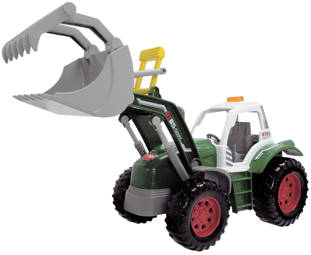 Dickie Toys Трактор с поднимающимся ковшом3736000Трактор Dickie Toys привлечет внимание вашего ребенка и не позволит ему скучать. Ковш трактора поднимается и опускается с помощью двух кнопок, расположенных позади кабины. Также положение ковша можно регулировать вручную с помощью специальной перекладины. При нажатии на кнопки одновременно с движением ковша активируются световые и звуковые эффекты. Ваш ребенок сможет часами играть с машинкой, придумывая разные истории. Порадуйте его таким замечательным подарком! Для работы игрушки необходимы 2 батарейки типа АА напряжением 1,5V (товар комплектуется демонстрационными).
