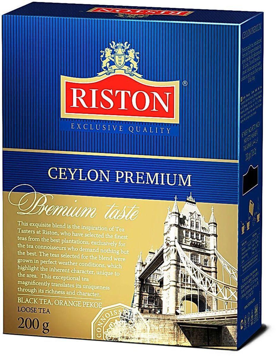 Riston Цейлонский Премиальный черный листовой чай, 200 г4792156001081Эксклюзивный сорт черного чая высшей категории, в состав которого входят только верхние листочки, собранные на элитных плантациях Шри-Ланки. Этот крепкий настой с мягким, деликатным вкусом и насыщенным ароматом создает отличный настрой на весь день. Стандарт ОР