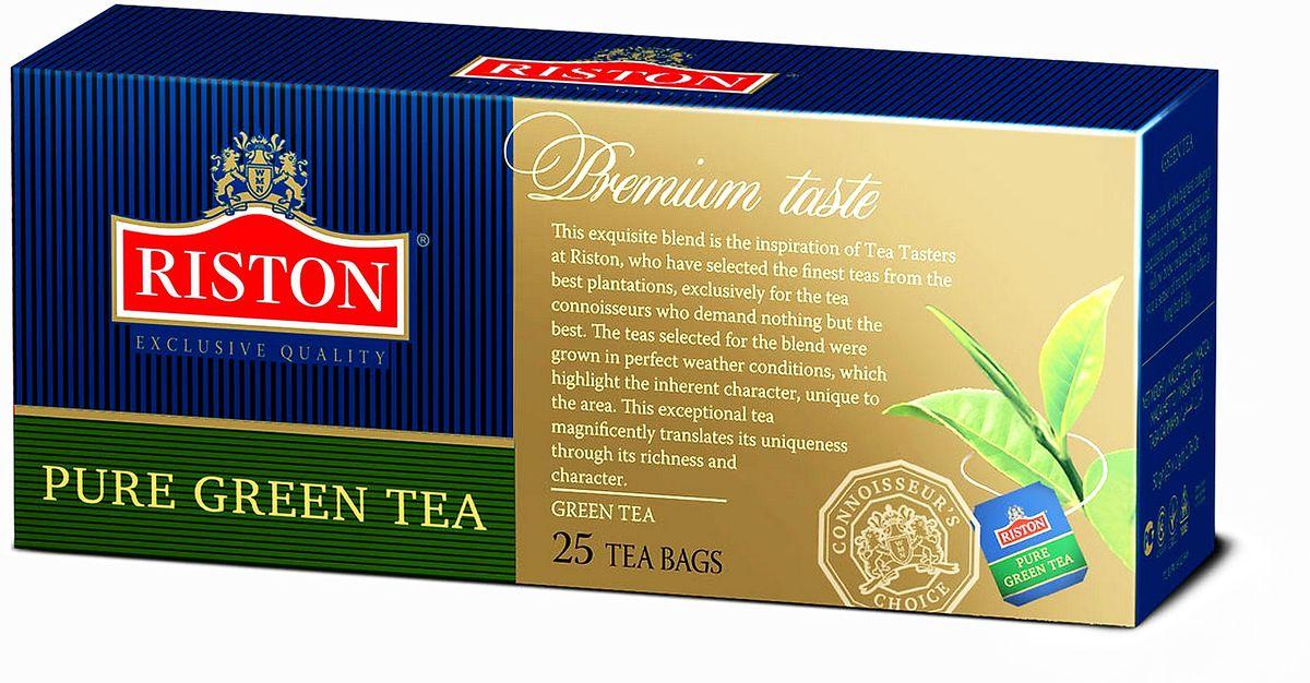 Riston Green зеленый чай в пакетиках, 25 шт4792156001777Зеленый чай высшей категории с насыщенным терпким вкусом и изысканным ароматом. Мягкий золотистый настой напитка помогает расслабиться и почувствовать отдохновение после длинного насыщенного дня.