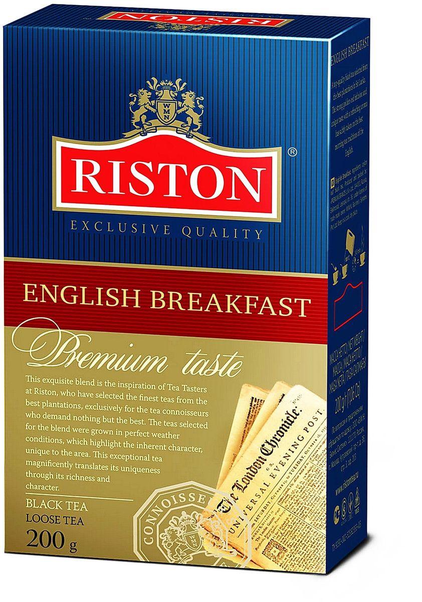 Riston Английский Завтрак ВОР черный листовой чай, 200 г4792156002156Riston Английский Завтрак ВОР - черный чай высшей категории, собранный на лучших плантациях Шри-Ланки. Крепкий настой красного оттенка с золотистым отливом, уникальным вкусом и освежающим ароматом стал непременным атрибутом традиционного английского завтрака.