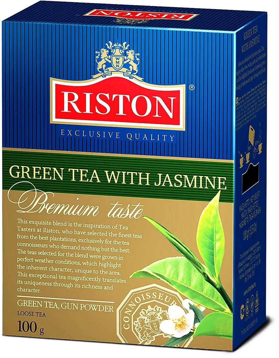 Riston с Жасмином зеленый листовой чай, 100 г4792156002248Зеленый чай Riston с добавлением лепестков жасмина. Ярко выраженный золотистый настой напитка с особым утонченным вкусом и восхитительным цветочным ароматом жасмина дарит ощущение свежести и бодрости в течение всего дня.