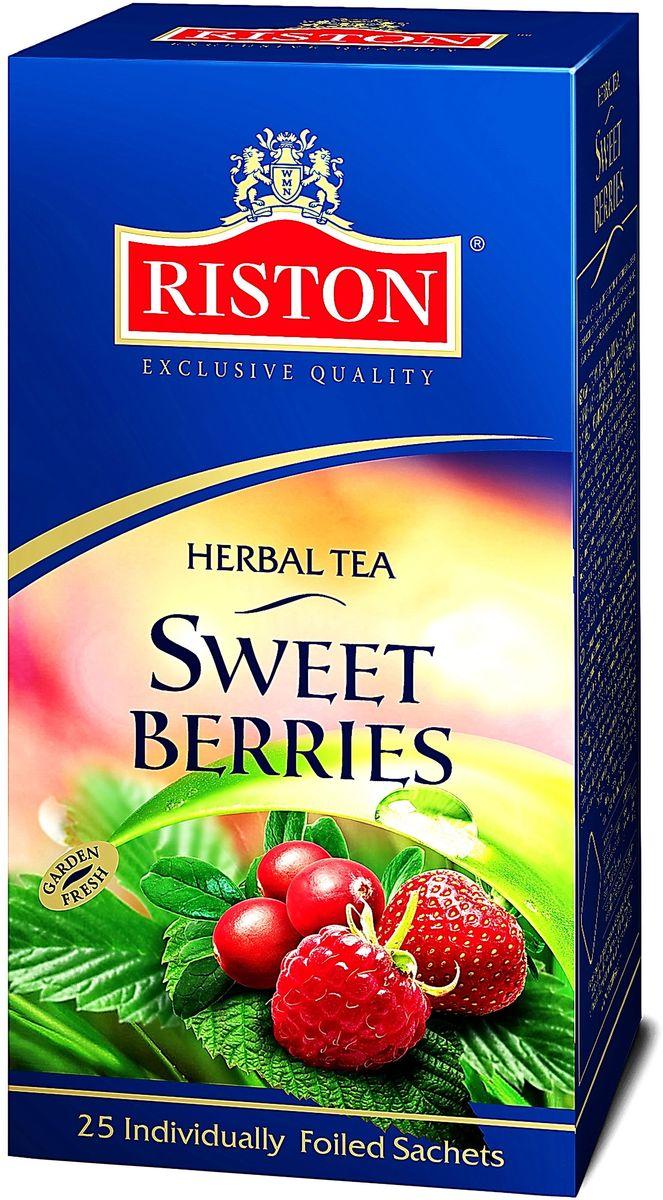 Riston Сладкие Ягоды травяной чай в пакетиках, 25 шт4792156004587Пикантная клубника, малина и клюква в сочетании с гибискусом, шиповником и кусочками яблок создает неповторимый освежающий вкус и аромат. Превосходно согревает в горячем виде и замечательно освежает в охлажденном. Состав: гибискус, плоды шиповника, кусочки яблока сушеного, ароматизаторы, идентичные натуральным: клубника, малина, клюква.