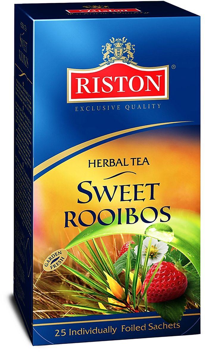 Riston Сладкий Ройбуш травяной чай в пакетиках, 25 шт4792156004594Изысканный южноафриканский ройбуш ароматизированный клубникой и ванилью обладает освежающим вкусом, идеален для любого времени суток, превосходно согревает в горячем виде и освежает в охлажденном. Состав: ройбуш, ароматизаторы, идентичные натуральным: клубника, ваниль.