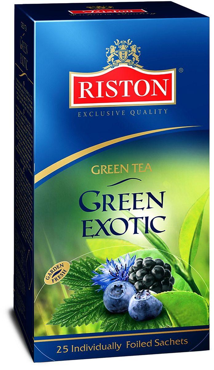 Riston Green Exotic зеленый чай в пакетиках, 25 шт4792156004617Классический зеленый чай Riston Green Exotic в сочетании с лепестками красной розы и васильками, деликатно ароматизированный экзотической ванилью, ежевикой, черникой и лимоном. Обладает потрясающим вкусом и нежным цветочным ароматом, превосходно согревает в горячем виде и замечательно освежает в охлажденном.