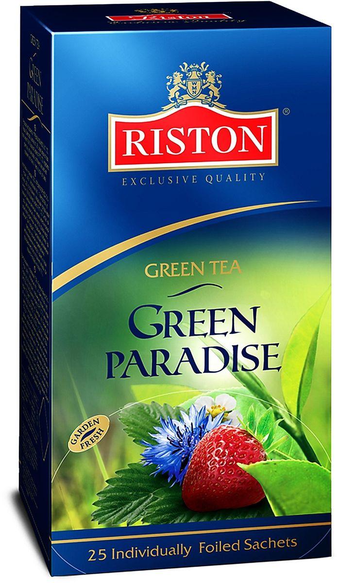 Riston Зеленый Парадайз зеленый чай в пакетиках, 25 шт4792156004624Классический зеленый чай в сочетании с лепестками красной розы и васильками, деликатно ароматизированный клубникой и розовым маслом. Обладает потрясающим вкусом и нежным цветочным ароматом, превосходно согревает в горячем виде и замечательно освежает в охлажденном. Состав: чай зеленый байховый цейлонский мелкий, лепестки красной розы, цветки василька, ароматизатор натуральный: розовое масло, ароматизатор, идентичный натуральному: клубника.