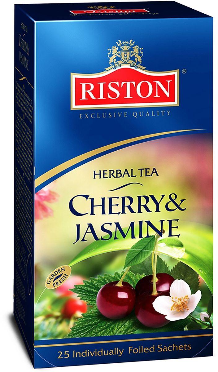 Riston Вишня Жасмин чай травяной в пакетиках, 25 шт4792156005126Букет из терпкого вишневого нектара и жасмина в сочетании с лепестками гибискуса, шиповника, ежевики и апельсиновой цедры создает гармонию насыщенного ягодного вкуса и аромата. Состав: гибискус, шиповник, листья ежевики, цедра апельсина, ароматизаторы, идентичные натуральным: вишня, жасмин.