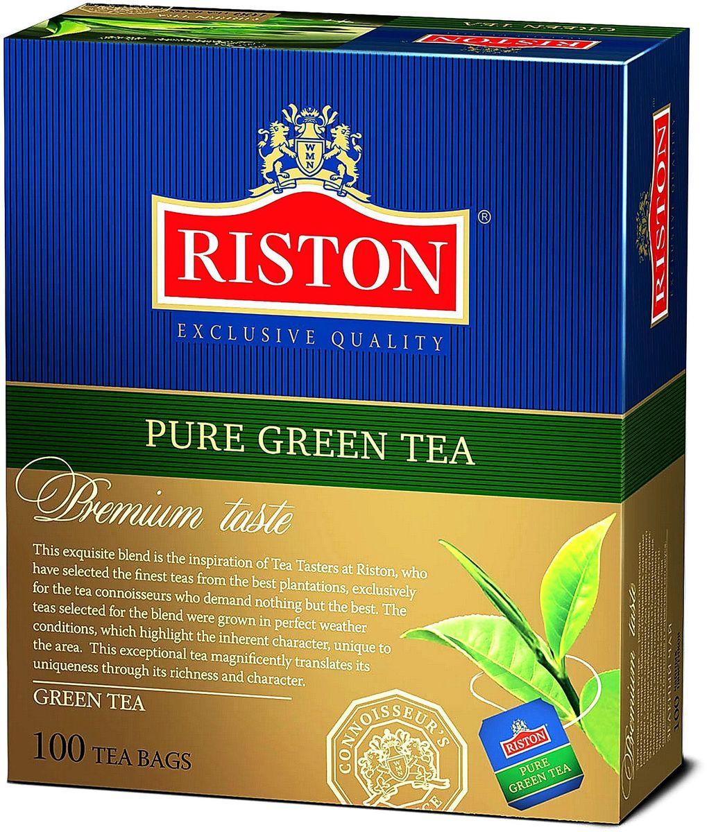 Riston Green зеленый чай в пакетиках, 100 шт4792156005478Зеленый чай Riston высшей категории с насыщенным терпким вкусом и изысканным ароматом. Мягкий золотистый настой напитка помогает расслабиться и почувствовать отдохновение после длинного насыщенного дня.