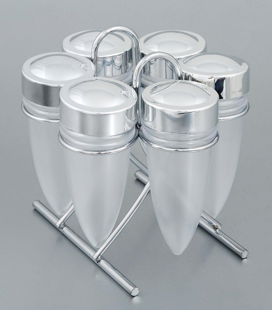 Набор для специй Rosenberg, на подставке, 7 предметов. 629377.858@22120, 6293Набор Rosenberg состоит из 6 емкостей для специй и подставки. Емкости выполнены из прочного пластика и снабжены удобными крышками. Для хранения емкостей предусмотрена подставка из стали с хромированной поверхностью. Такой набор поможет хранить под рукой самые часто используемые специи. Объем емкости: 60 мл. Высота емкости (без учета крышки): 10,7 см. Диаметр емкости (по верхнему краю): 4 см. Размер подставки: 13 х 8,5 х 12,5 см.