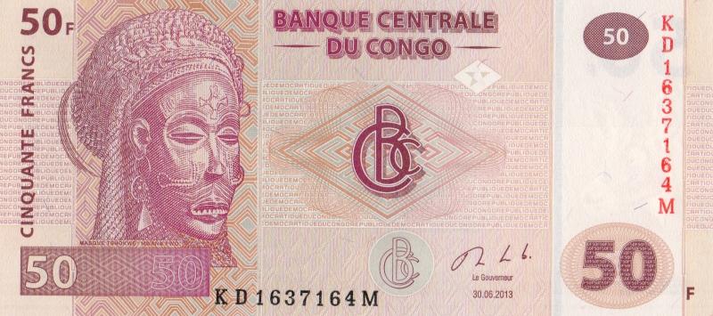 Банкнота номиналом 50 франков. Демократическая Республика Конго, 2013 год
