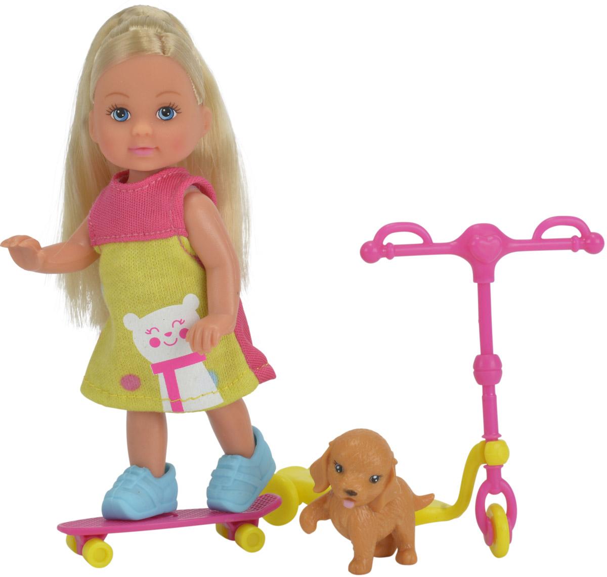 Simba Мини-кукла Еви на скутере цвет розовый салатовый5732295Кукла Simba Еви на скутере порадует любую девочку и надолго увлечет ее. Для летней прогулки в наборе с куколкой есть все необходимое: скутер, скейт и фигурка собачки. Еви весело проводит время со своим любимым песиком. Малышка Еви одета в стильное летнее платье и голубые ботиночки. Вашей дочурке непременно понравится заплетать длинные белокурые волосы куклы, придумывая разнообразные прически. Руки, ноги и голова куклы подвижны, благодаря чему ей можно придавать разнообразные позы. Игры с куклой способствуют эмоциональному развитию, помогают формировать воображение и художественный вкус, а также разовьют в вашей малышке чувство ответственности и заботы. Великолепное качество исполнения делают эту куколку чудесным подарком к любому празднику.