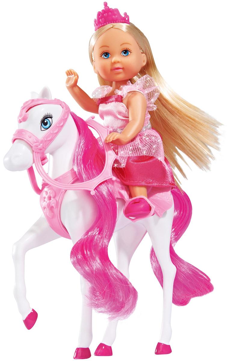 Simba Кукла Еви и лошадка5732833Кукла Simba Еви и лошадка порадует любую девочку и надолго увлечет ее. Для прогулки в наборе с куколкой есть все необходимое: расческа, седло и фигурка лошадки. Еви весело проводит время с лошадкой, расчесывая ей гриву. Принцесса одета в красивое платье нежно-розового цвета. Ее образ дополнен диадемой и розовыми ботиночками. Вашей дочурке непременно понравится заплетать длинные белокурые волосы куклы, придумывая разнообразные прически. Руки, ноги и голова куклы подвижны, благодаря чему ей можно придавать разнообразные позы. Игры с куклой способствуют эмоциональному развитию, помогают формировать воображение и художественный вкус, а также разовьют в вашей малышке чувство ответственности и заботы. Великолепное качество исполнения делают эту куколку чудесным подарком к любому празднику.