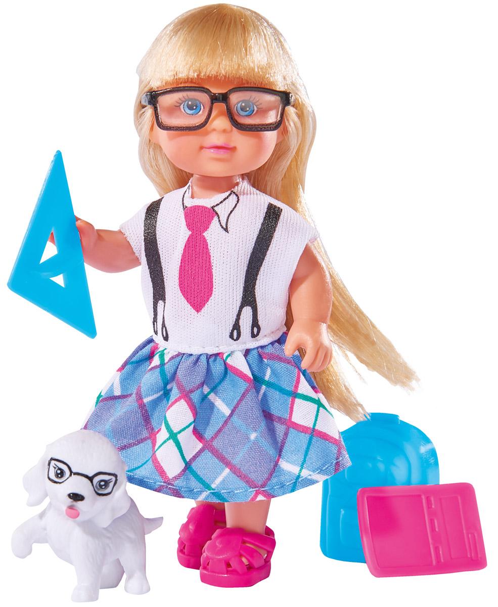 Simba Кукла Еви ученица5736330Кукла Simba Еви ученица порадует любую девочку и надолго увлечет ее. Для занятий в школе у куклы есть все необходимое: рюкзак, ноутбук, циркуль, транспортир, калькулятор, счет, 2 треугольника и фигурка собачки. Еви часто берет любимого песика с собой. Малышка Еви одета в стильную школьную форму и розовые ботиночки. Ее школьный образ дополняют очки в черной оправе. Вашей дочурке непременно понравится заплетать длинные белокурые волосы куклы, придумывая разнообразные прически. Руки, ноги и голова куклы подвижны, благодаря чему ей можно придавать разнообразные позы. Игры с куклой способствуют эмоциональному развитию, помогают формировать воображение и художественный вкус, а также разовьют в вашей малышке чувство ответственности и заботы. Великолепное качество исполнения делают эту куколку чудесным подарком к любому празднику.