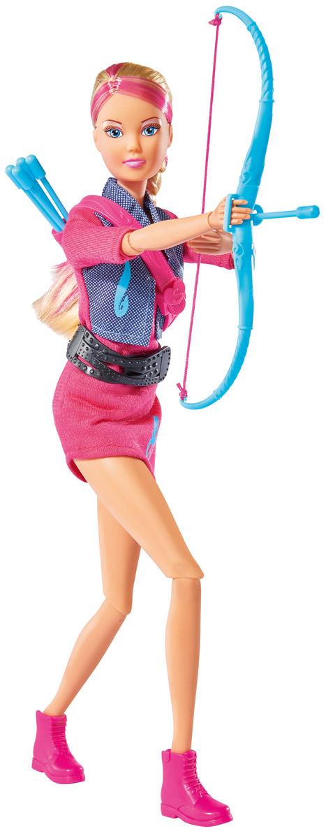 Simba Кукла Штеффи Мятежный дух5737169Кукла Simba Штеффи. Мятежный дух надолго займет внимание вашей малышки и подарит ей множество счастливых мгновений. В комплект входит лук, 5 стрел и колчан для них. Кукла одета в розовое спортивное платье с жилеткой и поясом.Чудесные длинные волосы с розовыми прядями куклы так весело расчесывать и создавать из них всевозможные прически, плести косички и хвостики. Кукла изготовлена из безопасных материалов, ее голова, руки и ноги подвижны, что позволяет придавать ей разнообразные позы. Благодаря играм с куклой, ваша малышка сможет развить фантазию и любознательность, овладеть навыками общения и научиться ответственности, а дополнительные аксессуары сделают игру еще увлекательнее. Порадуйте свою принцессу таким прекрасным подарком!