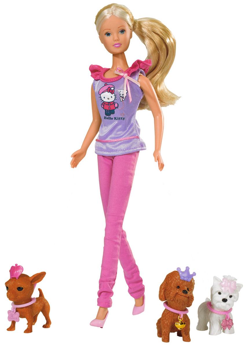 Simba Игровой набор Штеффи с собачками Hello Kitty5732786Игровой набор Simba Штеффи с собачками Hello Kitty надолго займет внимание вашей малышки и подарит ей множество счастливых мгновений. В комплект с куклой входит три маленьких собачки. У них также как и у куклы имеются наряды в виде ошейников и диадем. Также в набор входят ванночка, миска с костью, гребень, два зеркала и лежанка. Кукла одета в стильную футболку с надписью Hello Kitty и в прямые брюки, а ее шикарные волосы распущены.Вашей дочурке непременно понравится заплетать длинные белокурые волосы куклы, придумывая разнообразные прически. Кукла изготовлена из прочного материала, ее голова, руки и ноги подвижны, что позволяет придавать ей разнообразные позы. Благодаря играм с куклой, ваша малышка сможет развить фантазию и любознательность, овладеть навыками общения и научиться ответственности, а дополнительные аксессуары сделают игру еще увлекательнее. Порадуйте свою принцессу таким прекрасным подарком!