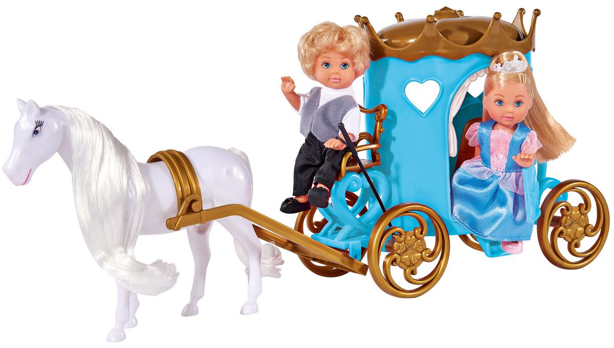 Simba Набор кукол Еви и Тимми в карете5738516Набор кукол Simba Еви и Тимми в карете порадует любую девочку и надолго увлечет ее. Еви и Тимми отправляются в путешествие на своей карете. Они вместе весело проводят время. Тимми правит лошадью, сидя на месте кучера, а Еви как настоящая принцесса едет в карете. Кукла девочки одета в красивое платье нежно-голубого цвета, а волосы украшены белой диадемой. Ее друг Тимми одет в костюм черно- белого цвета. Вашей дочурке непременно понравится заплетать длинные белокурые волосы куклы, придумывая разнообразные прически. Руки, ноги и голова кукол подвижны, благодаря чему им можно придавать разнообразные позы. Игры с куклами способствуют эмоциональному развитию, помогают формировать воображение и художественный вкус, а также разовьют в вашей малышке чувство ответственности и заботы. Великолепное качество исполнения делают этих кукол чудесным подарком к любому празднику.