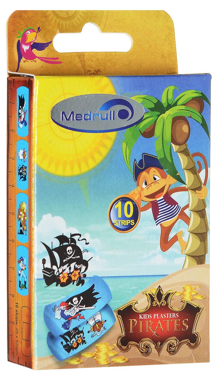 Medrull Лейкопластыри медицинские детские в стрипах Kids Plasters Pirates 10 шт