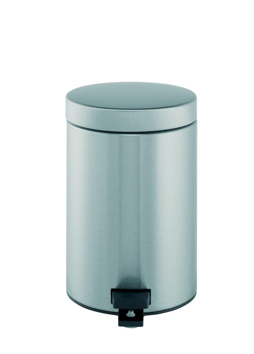 Ведро для мусора с педалью Brabantia 3л, цвет: матовая сталь с защитой от отпечатков пальцев481581Идеальное решение для ванной комнаты и туалета! Предотвращает распространение запахов – прочная не пропускающая запахи металлическая крышка; Плавное и бесшумное открывание/закрывание крышки; Удобная очистка – прочное съемное внутреннее ведро из пластика; Надежный педальный механизм, высококачественные коррозионно-стойкие материалы; Бак удобно перемещать – прочная ручка для переноски; Отличная устойчивость даже на мокром и скользком полу – противоскользящее основание; Предохранение пола от повреждений – пластиковый защитный обод; Всегда опрятный вид – идеально подходящие по размеру мешки для мусора со стягивающей лентой (размер B); 10-летняя гарантия Brabantia.
