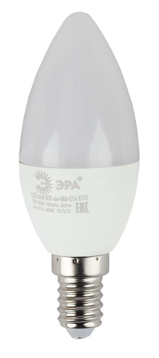 Лампа светодиодная ЭРА, цоколь E14, 170-265V, 6W, 4000К5055945536546Светодиодная лампа ЭРА является самым перспективным источником света. Основным преимуществом данного источника света является длительный срок службы и очень низкое энергопотребление, так, например, по сравнению с обычной лампой накаливания светодиодная лампа служит в среднем в 50 раз дольше и потребляет в 10-15 раз меньше электроэнергии. При этом светодиодная лампа практически не подвержена механическому воздействию из-за прочной конструкции и позволяет получить любой цвет светового потока, что, несомненно, расширяет возможности применения и позволяет создавать новые решения в области освещения. Особенности серии Eco: Предназначена для обычного потребителя Цена ниже, чем цена компактной люминесцентной лампы Световая отдача источников света - 70-80 лм/Вт Срок службы составляет 25000 часов Гарантия - 1 год. Работа в цепи с выключателем с подсветкой не рекомендована.