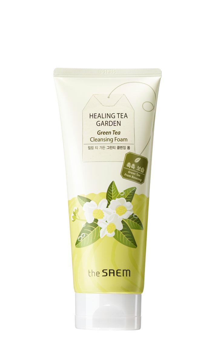 The Saem Пенка увлажняющая очищающая с экстрактом зеленого чая Healing Tea Garden Green Tea Cleansing Foam, 170 мл