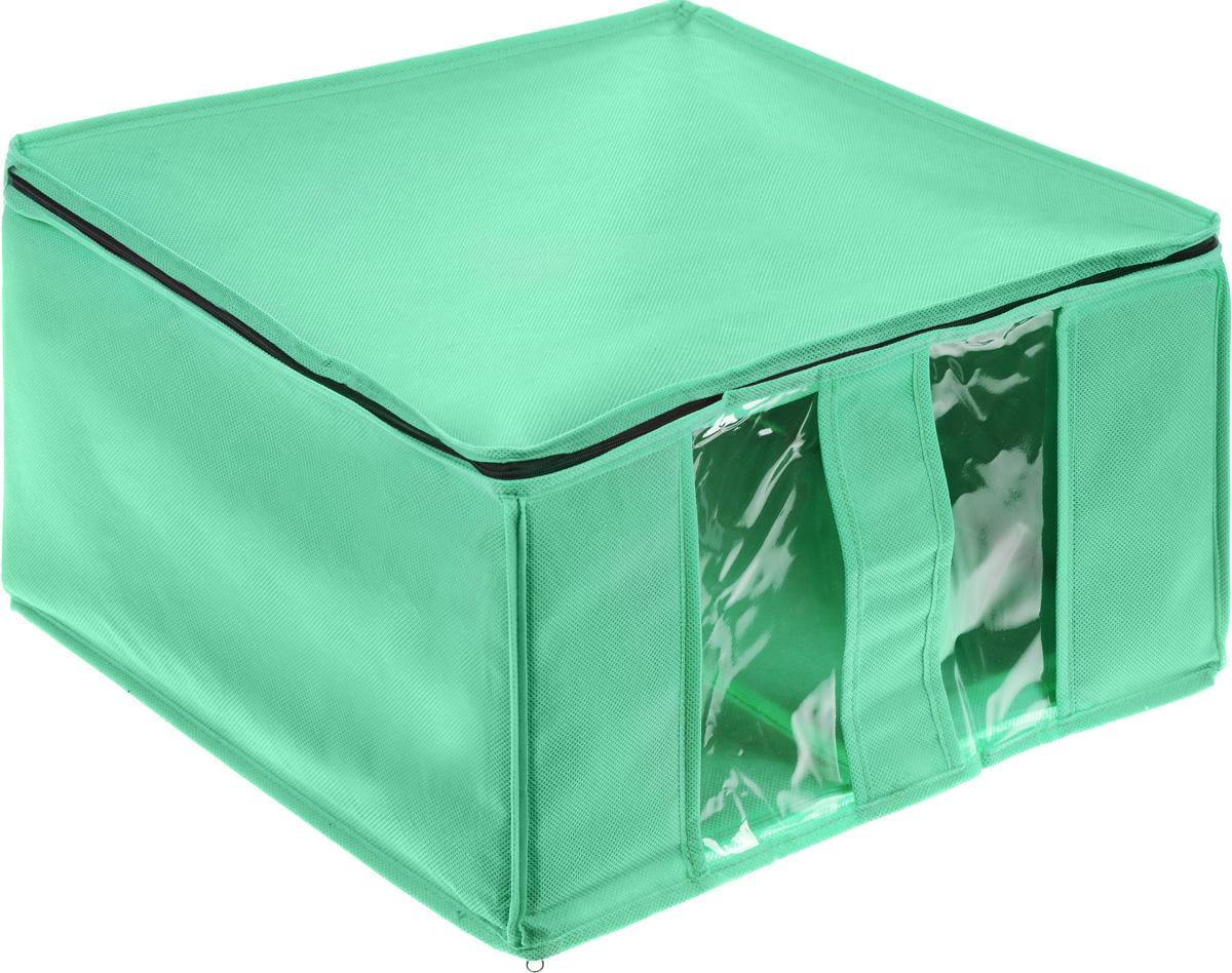 Кофр для хранения Miolla, цвет: зеленый, 40 x 40 x 25 смCHL-6-2_зеленыйКофр Miolla выполнен из высококачественного спанбонда (нетканого материала). Прозрачные полиэтиленовые окошки позволяют видеть содержимое внутри. Подходит для длительного хранения вещей и закрывается откидной крышкой на застежке-молнии. Дно и стенки кофра оснащены специальными вставками из картона, которые держат его форму. Также кофр оснащен удобной ручкой, благодаря которой изделие можно использовать в качестве выдвижного ящика в гардеробе или шкафу. Такой кофр обеспечит вашей одежде надежную защиту от влажности, повреждений и грязи при транспортировке, от запыления при хранении и проникновения моли, а также позволит воздуху свободно поступать внутрь вещей, обеспечивая их кондиционирование.