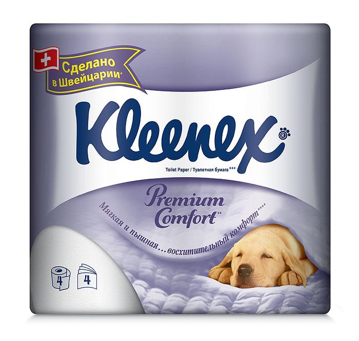 Туалетная бумага Kleenex Premium Comfort, четырехслойная, цвет: белый, 4 рулона26083075Четырехслойная туалетная бумага Kleenex Premium Comfort премиум класса изготовлена из целлюлозы высшего качества. Листы белого цвета имеют рисунок с тиснением. Мягкая, нежная, но в тоже время прочная, бумага не расслаивается и отрывается строго по линии перфорации. Уникальность бумаги в том, что она пышная. Это стало возможно благодаря воздушному тиснению, по структуре похожему на пуховое одеяло. 100% целлюлоза придает бумаге премиальный, кристально белый цвет.