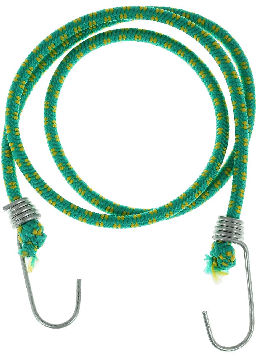 Резинка багажная МастерПроф, с крючками, цвет: зеленый, желтый, 0,6 х 110 смАС.020052_зеленый, желтыйБагажная резинка МастерПроф, выполненная из синтетического каучука, оснащена специальными металлическими крюками, которые обеспечивают прочное крепление и не допускают смещения груза во время его перевозки. Изделие применяется для закрепления предметов к багажнику. Такая резинка позволит зафиксировать как небольшой груз, так и довольно габаритный. Температура использования: -15°C до +50°C. Безопасное удлинение: 60%. Толщина резинки: 0,6 см. Длина резинки: 110 см.