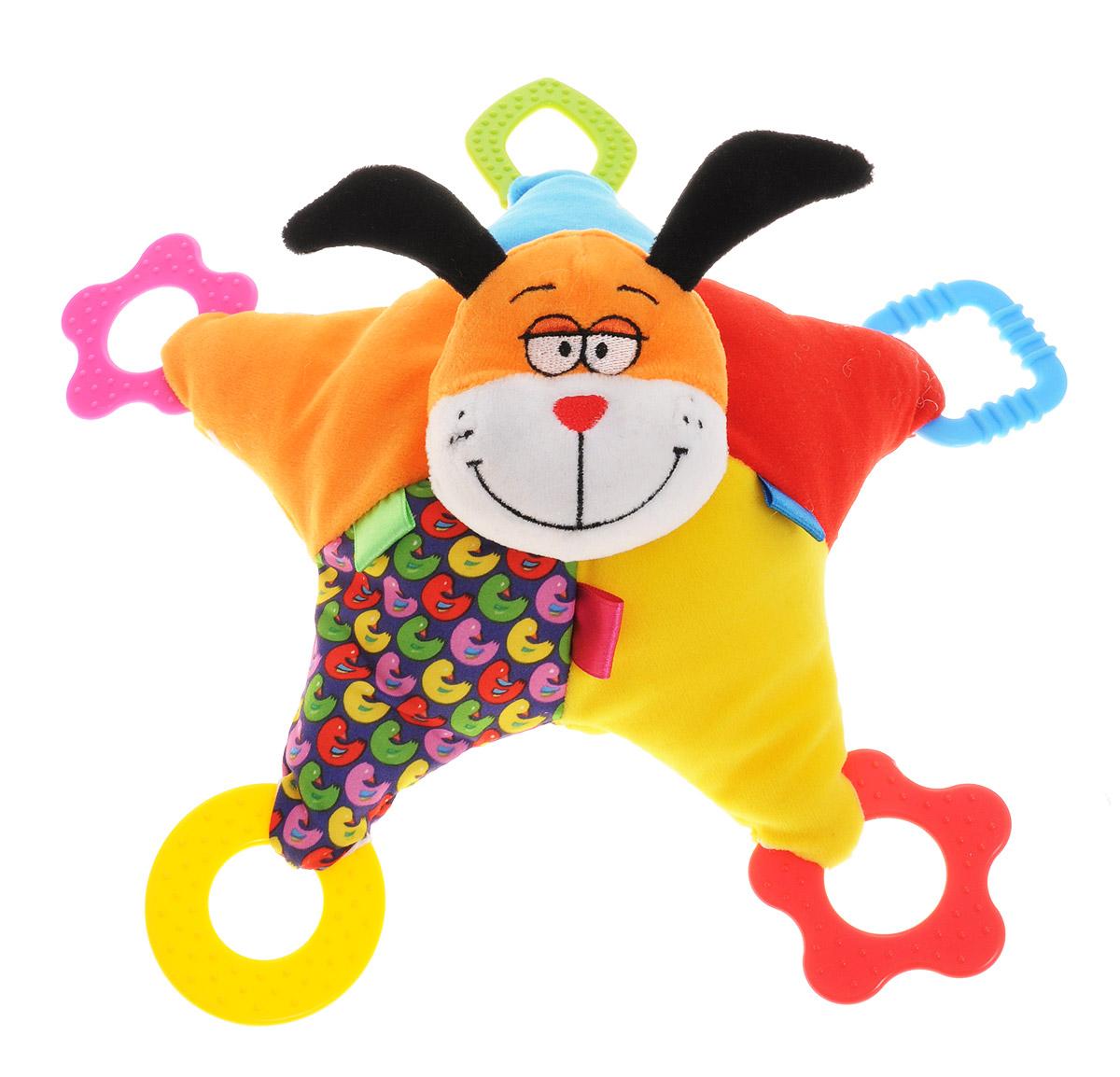 Bondibon Мягкая игрушка-погремушка Собака 32 смВВ1294_собакаМягкая игрушка-погремушка Собака не оставит вашего малыша равнодушным и не позволит ему скучать. Игрушка выполнена из высококачественных текстильных материалов и мягкого наполнителя. Мягкая игрушка выполнена в форме звездочки, в центре которой находится мордочка собачки. Внутри ушек спрятаны шуршащие элементы. На каждой лапке размещены яркие прорезыватели. Все прорезыватели имеют разную форму, а если потрясти игрушку, то она будет издавать гремящий звук. Яркая игрушка формирует тактильные ощущения, восприятие звуков, цветов и форм. В процессе игры развивается мелкая моторика и воображение вашего ребенка.