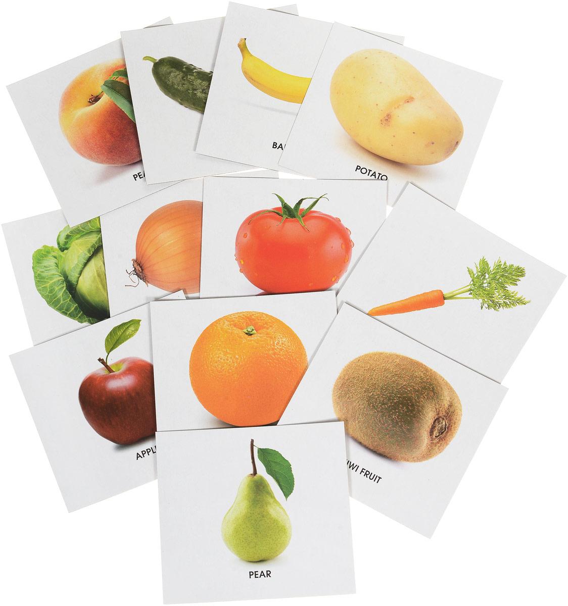Улыбка Обучающие карточки Фрукты и овощи