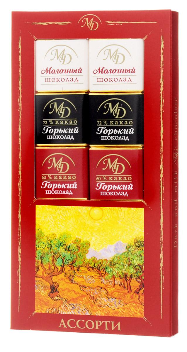 Монетный двор Ассорти набор молочного и горького шоколада, 50 г (пенал)
