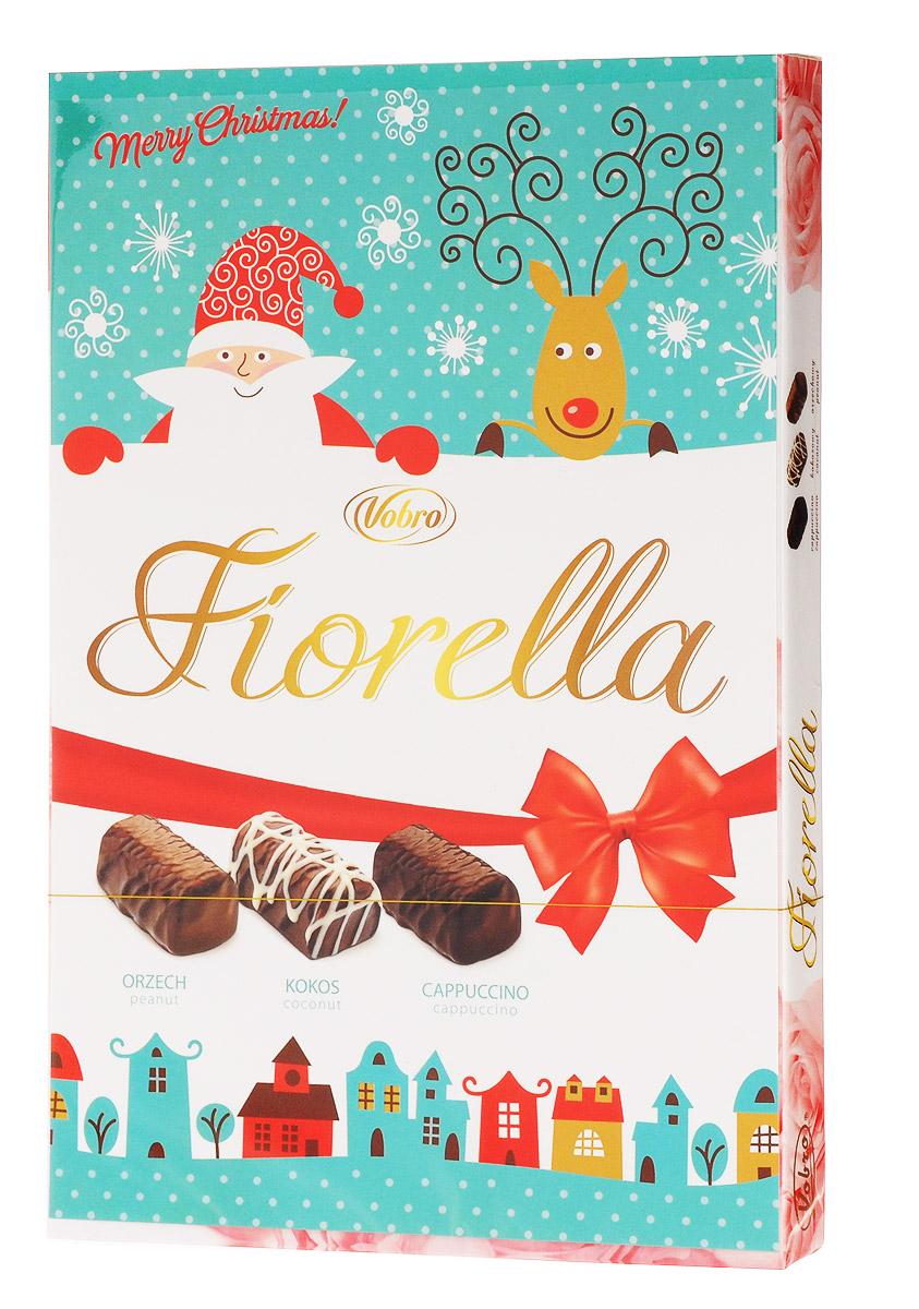 Vobro Fiorella Фиорелла набор шоколадных конфет, 140 г9352Vobro Fiorella - это 3 дополнительных вкуса, создающих набор, который не надоест. Под деликатным шоколадом скрыт вкус кокоса, ореха и капучино. Такая коробка конфет будет идеальным подарком вместо одних цветов. Такой набор, несомненно, порадует каждую женщину.